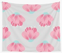 """""""Pink Flower"""" Wall Tapestry by Tapestry Design, Wall Tapestry, Textile Prints, Flower Wall, Sell Your Art, All Print, Flower Patterns, Pink Flowers, Vivid Colors"""