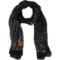 Roberto Cavalli Scarf (3,085 MXN) ❤ liked on Polyvore featuring accessories, scarves, steel grey, animal print scarves, logo scarves, roberto cavalli scarves, animal print shawl and roberto cavalli
