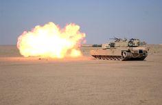Fired a tank. M1A1 Abrams Main Battle Tank.