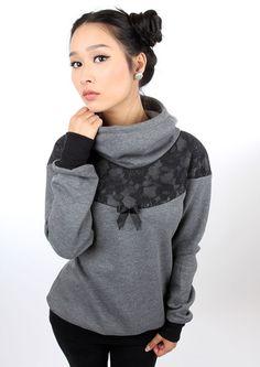 "Hoodies - MEKO ""Flora"" hoodie gray women lace - a unique product by meko be . - Couture - Hoodies – MEKO ""Flora"" hoodie gray women lace – a unique product by meko on DaWanda - Couture, Big Girl Fashion, Womens Fashion, Flora, Lady Grey, Grey Hoodie, Refashion, Designer, Style Inspiration"