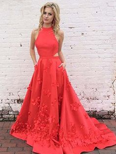 High Neck Satin Red Prom Dress,Long Prom Dress,Elegant Prom Dresses,Formal Evening Dress on Storenvy Red Satin Prom Dress, Prom Dress With Train, Prom Dresses With Pockets, Open Back Prom Dresses, Prom Dresses For Teens, Elegant Prom Dresses, Prom Dresses 2017, A Line Prom Dresses, Beautiful Prom Dresses