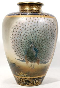 JAPANESE SATSUMA VASE BY KINKOZAN, 19TH C., Ovoid vase decorated with a peacock and mocking bird on one side and a rooster with chickens on the reverse. Signed by Kinkozan.