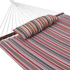 Prime Garden Double Person Quilted Fabric Hammock With Pillow Sienna Stripe