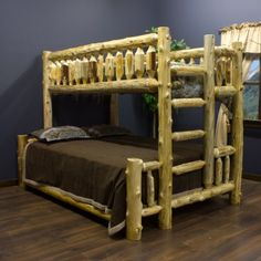 Cedar Lake Twin Over Full Log Bunk Bed