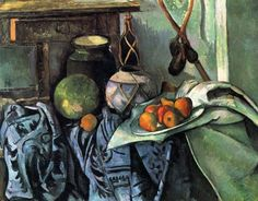 Paul Cezanne: Still Life with a Ginger Jar and Eggplants, Paul Cézanne (French, Oil on canvas Abstract Canvas, Oil On Canvas, Canvas Art, Big Canvas, Framed Canvas, Cezanne Still Life, Felix Vallotton, Paul Cezanne Paintings, Cezanne Art