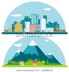 Buy Spring Urban and Countryside Landscape by Meilun on GraphicRiver. Spring Urban Countryside Landscape City Village Real Estate Summer Day Background Flat Design Concept Icon Template V. Flat Design Illustration, City Illustration, Landscape Illustration, Urban Icon, Countryside Landscape, Free Vector Art, Vector Graphics, Vector Pattern, Letters