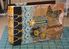 Pick Pocket 2 mini album- Following the Paper Trail - Notice the cool loop and baker's cord binding
