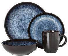 Threshold 16 piece Cambridge Dinnerware Set - Blue (Round - Reactive Blue)