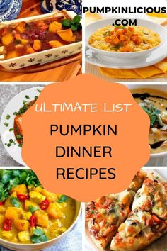 Find the best collection of pumpkin dinner recipes! There is something to suit all palates, meat eaters and vegans alike. Pumpkin Puree Recipes, Pureed Food Recipes, Easy Healthy Recipes, Pumpkin Dinner Recipes, Fall Recipes, Cooking Recipes, Pumpkin Stew, Chicken Pumpkin, Pumpkin Casserole