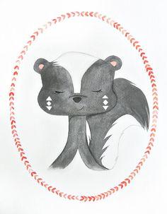 Skunk watercolor PRINT nursery artwork animal by sweetmagoo, $15.00