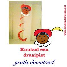 #Sinterklaas knutselen: een vrolijke draaipiet van Suus Kinderfeestjes. Print het pietenhoofd en de draaislinger en hang hem bij de radiotor. Als piet maar niet duizelig wordt!