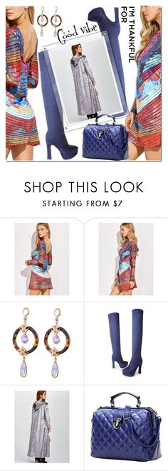 """Good vibe"" by jecakns ❤ liked on Polyvore featuring dress, colorful, velvet, imthankfulfor and zaful"