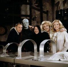 Mel Brooks on the set of Young Frankenstein with Peter Boyle, Marty Feldman, Gene Wilder and Teri Garr.