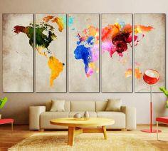 Colorful World Map №870 - canvas print wall art by Zellart