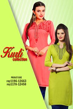 Designer Rayon #EmbroideredKurti Step out the house looking casual chic with this comfortable and trendy kurti. Pair it with contrasting colored bottoms for added appeal #womanwear #casualwear #shopping #casualoutfit #dailywear #newdesigns #onlinekurti #thechoiceisyours