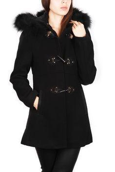 Go Mode - Manteau duffle-coat capuche à fourrure - Femme - Noir: Amazon.fr: Vêtements et accessoires