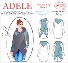 ADELE ist eine Nähanleitung & Schnittmuster (PDF-Datei, E-Book) für ein lässiges, bequemes Sweatshirt mit langen Ärmeln für Damen. Das Sweatshirt verfügt über: - Kapuze - Ärmel mit Bündchen oder - Ärmel ohne Bündchen - Taschen in 3 Nähvarianten Das E-Book ist nur für dehnbare Stoffe wie Sweat, Jersey oder Strick, Walk und Fleece konzipiert. Das E-Book enthält: - Mehrgrößen-Schnitt(muster) Damen : 32/34 (XS), 36/38 (S), 40/42 (M), 44/46 (L), 48/50 (XL), 52/54 ...