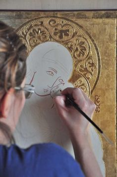 Advanced level water gilding Ikon - work in progress. Byzantine Icons, Byzantine Art, Religious Icons, Religious Art, Sculpture Textile, Paint Icon, Hand Painted Canvas, Catholic Art, Orthodox Icons