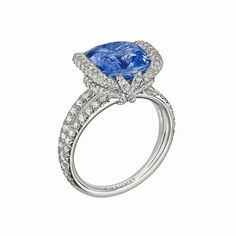 Chaumet high jewellery Liens ring in rhodium-plated white gold, set with brilliant-cut diamonds and a 5.78ct cushion-cut Ceylon sapphire.