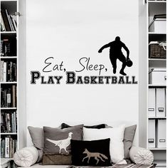 Wall Decals Quotes Sport Eat Play Basketball Gym Bedroom Vinyl Decor for sale online Wall Stickers, Wall Decals, Basketball Room, Gaming Wall Art, Gym Decor, Vinyl Decor, Art Mural, Fall Mantel Decorations, Workout Rooms