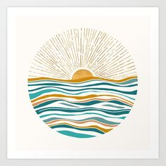 Buy Hello Sunshine Art Print by Modern Tropical. Gallery-grade art prints and framed prints by living artists the world over. Worldwide shipping available. Painting Inspiration, Art Inspo, Inspiration Wall, Teal Art, Painting & Drawing, Sun Drawing, Sun Painting, Sunrise Painting, Diy Art