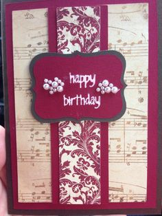 Musical birthday card Musical Birthday Cards, Birthday Music, Happy Birthday, Scrapbook Cards, Scrapbooking, Greeting Cards Handmade, All Pictures, Musicals, Anniversary