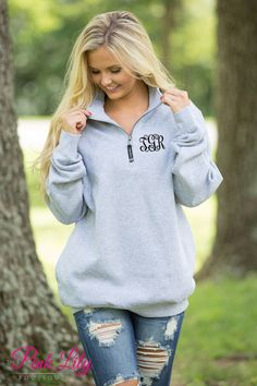 These beautiful quarter zips are your newest favorite for relaxing all season long! The soft sweatshirt material is so wonderful for wearing all day long, while the classic heather grey color is simply perfect for the season!