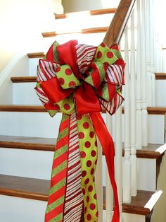 Items similar to Christmas Tree Topper Bow - large tree topper bow, Christmas wreath bow, banister Decoration Bow, Christmas Bow Lime Red White on Etsy Types Of Christmas Trees, Christmas Mesh Wreaths, Ribbon On Christmas Tree, Christmas Bows, Christmas Tree Toppers, Christmas Decorations, Christmas Ideas, Xmas, Holiday Ideas