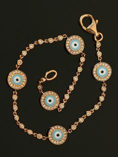 Aaron Basha Yellow Gold Evil Eye and Diamond Bracelet at London Jewelers.
