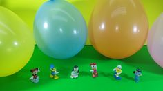 6 Colorful Balloons with Cute Disney Characters-Surprise Eggs and Play Doh