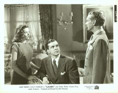 Gene Tierney, Dana Andrews, and Clifton Webb in Laura Gene Tierney, Vintage Hollywood, Classic Hollywood, Laura 1944, Clifton Webb, Dana Andrews, Mary Pickford, Faye Dunaway, Classic Films