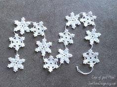 Schneeflocken Girlande Weihnachtsgirlande Weihnachtsdeko Tür Baumanhänger Deko Banner Dekor Weihnachten weiß häkeln