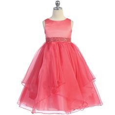 46.00$  Buy now - http://vitkj.justgood.pw/vig/item.php?t=mgbhaq17561 - Coral Satin Asymmetric Ruffles Organza Skirt Flower Girl Dress Birthday Wedding 46.00$