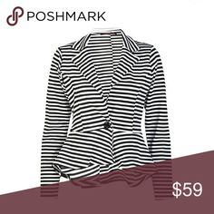 """Plus Size Stripe Peplum Blazer Pre owned  Worn only once Great condition Long Sleeves Stripe Print Peplum Button Soft And Stretchy Fabric Beautiful V Neck Style Notched Collar Stylish Flared Regular Fit Blazer Top  Machine washable Blazer Material: 95% Polyester 5%Elastane Approximate Length From Shoulder (Front) - 21"""", (Back) - 25"""" Made In UK Jackets & Coats Blazers"""