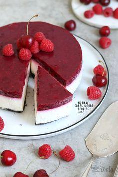 No Bake Greek Yogurt Berries Cake | Bake to the roots