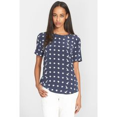 Equipment 'Riley' Print Silk Tee ($70) ❤ liked on Polyvore featuring tops, t-shirts, peacoat, print tees, star print top, silk top, silk tee et pattern tops