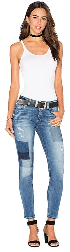 7 For All Mankind Ankle Skinny Patchwork Jeans Shadow Patch Denim