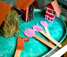 Three Little Pigs--What a cute prop to make and have in a literacy center.