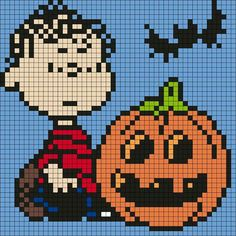 (Peanuts) Linus and Pumpkin pixel art