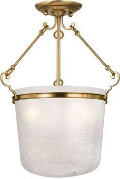 Hudson Valley Lighting 1030-AGB 3-Light Semi Flush, Aged Brass Finish