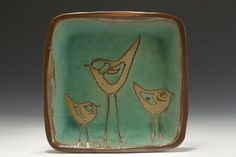 plate with birds glazed