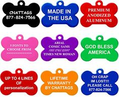 CNATTAGS Bone Pet ID Tags, Premium Aluminum, 8 Colors to Choose -- Many thanks for having seen our picture. (This is our affiliate link) Dog Tags Pet, Cat Tags, Pet Dogs, Dog Cat, Nursing Supplies, Pet Supplies, Led Dog Collar, Pet Id, Personalized Tags