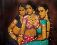 Indian Beauties, Oils Oil Painting on CanvasArtist: Anup Gomay Indian Artwork, Indian Art Paintings, Abstract Paintings, Oil Paintings, Sexy Painting, Woman Painting, Painting Tips, Painting Art, Watercolor Painting