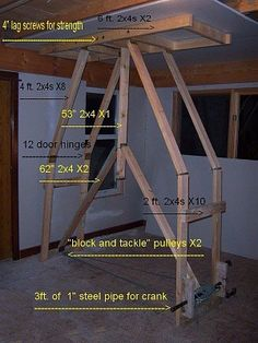 Drywall Lift by DangerMouse -- Homemade drywall lift constructed from 2x4s, pipe, pulleys, and lag screws. http://www.homemadetools.net/homemade-drywall-lift-3