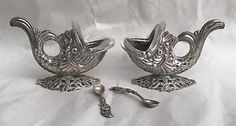 Old 800 Continental Silver Dolphin Fish Glass Master Salt Cellar & Spoon Pair