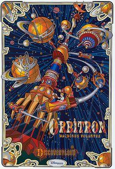 """Orbitron"" Attraction Poster, Disneyland Paris (WANT. Disneyland Paris, Disneyland Vintage, Hello Disneyland, Posters Disney Vintage, Vintage Cartoon, Art Disney, Disney Love, Disney Rides, Image Fun"