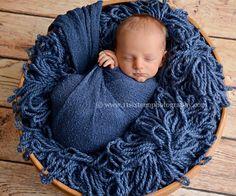 Dark Blue Jean Stretch Knit Newborn Baby Wrap   Beautiful Photo Props