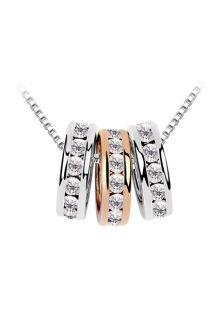 Elegant White Metal Flat Front Rings Embellished Crystal Necklace For Women