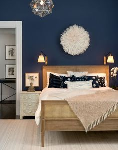 From rich navy to soft gray, these are the colors /theexchange/ says will be trending in home design during decor blue bedroom Bedroom Paint Color Trends for 2017 Navy Blue Bedrooms, Blue Bedroom Decor, Home Bedroom, Indigo Bedroom, Bedroom Neutral, Bedroom Furniture, Indigo Walls, Master Bedrooms, Dark Blue Bedroom Walls