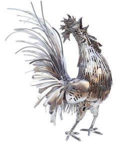 Rooster silverware art